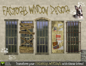 Sims 3 — Decor for Factory Windows by Cyclonesue — Make a whole new set of designs with these Factory Window decorative