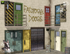 Sims 3 — Factory Doors by Cyclonesue — 10 unique factory doors in various states of repair. All are fully recolourable