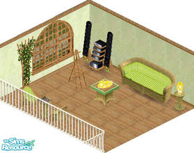 Sims 1 — Hummingbird sunroom by carriep — Includes: Lamp(2), Easel, Chair, Chess, Endtable, Floor, Wall, Plant, Sofa,