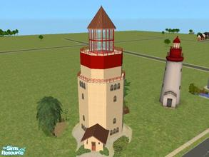 Sims 2 — Beacon Falls-The Beacon by lechapeau — Made to resemble the Maxis neighborhood decoration, this lighthouse sits