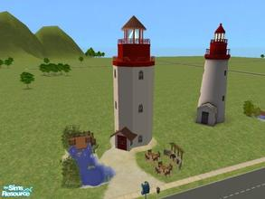 Sims 2 — Beacon Falls-Lighthouse & Fishing Park by lechapeau — A small lighthouse based on the Maxis neighborhood