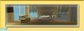 Sims 2 — Shiny Vanilla Set by terriecason — A set of bedroom and livingroom recolors in shiny vanilla and gold. Bedroom