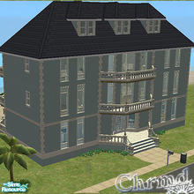Sims 2 — Beach Front Grand Hotel by Chrmd — 6 rooms that each sleep 2-3 people, each with their own balcony. Sims can