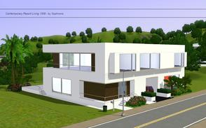 Sims 3 — Contemporary Resort Living 1009 by Sophronis — Modern looking house, with lots of wood and white paint! Features