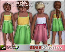 Sims 3 — S2S Dress for girls by sims2sisters — Short dress for girls with bow by Sims2Sisters