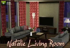 Sims 3 — Natalie Living Room by sim_man123 — New living room set, contains 9 items. Love seat, Sofa, Deco Pillow, Coffee