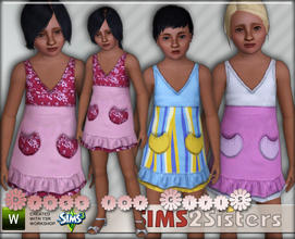 Sims 3 — S2S Dress for Girls by sims2sisters — Short dress for girls by Sims2Sisters. 3 recolorable palletes, 6 recolors