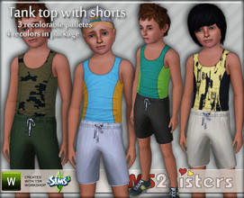 Sims 3 — S2S Tank Top & Shorts for Children by sims2sisters — Tank top with shorts for boys by Sims2Sisters. 3