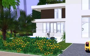 Sims 3 — Palm Entrance by Sophronis — House with modern exterior design, pool in the front and loads of palms. ! Kitchen,