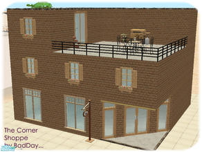 Sims 2 — The Corner Shoppe (Home Business) by BadDay — This is a small but charming 3 story home with an empty shop on