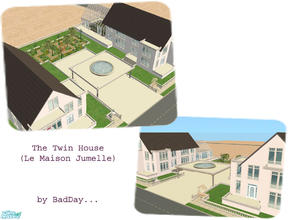 Sims 2 — Twin House by BadDay — A wonderful estate comprising two twin houses (one fully decorated and furnished, one