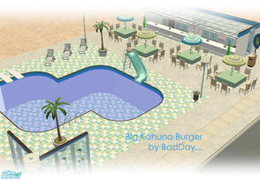 Sims 2 — Big Kahuna Burger by BadDay — A very relaxed pool-side outdoor restaurant good for warm Summer days and hot hot