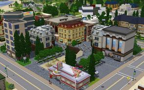 Sims 3 — Pleasure District  by Sophronis — A very nice big central plaza to replace the old park located in the centre of
