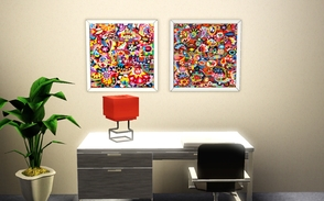 Sims 3 — Painting Canvas Set by Sophronis — Two modern abstract paintings are included in this set to decorate your walls