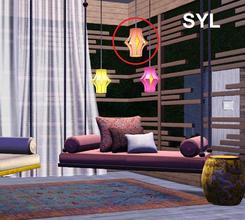 Sims 3 — SYL Zen Paradise Lantern (higher) by eryt96 — Hanging lantern in 3 recolours. Polycount 800 (HP), 612 (LP). Use