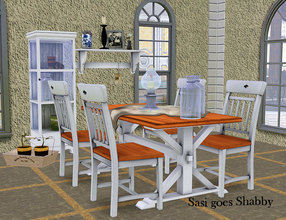 Sims 3 — Sasi goes Shabby by Sasilia — Set includes: glasscabinet, wallshelf, plant, table, tablecloth, chair, tablelamps