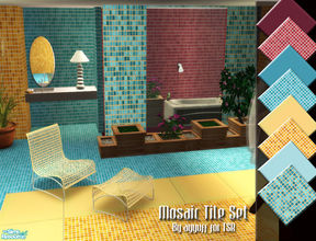 Sims 2 — Mosaic Tile Set by ayyuff — Included: 4 walls,8 floors. Cost:2