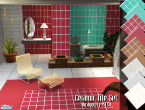 Sims 2 — Ceramic Tile Set by ayyuff — Included: 8 floors,4 walls... Cost:2