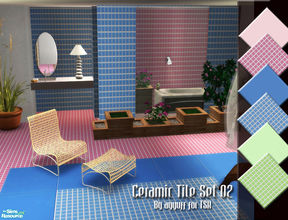 Sims 2 — Ceramic Tile Set 02 by ayyuff — Included: 6 floors,3 walls... Cost:2