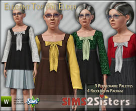 Sims 3 — S2S Elegant Top For Elders by sims2sisters — Elegant Tunic Top For Elder Female by Sims2Sisters
