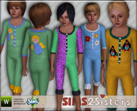 Sims 3 — S2S Pyjamas for Child by sims2sisters — Pyjamas for Child Girl by Sims2Sisters. 3 recolorable palettes, 4