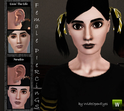 Sims 3 — Female Piercings Set by wideopeneyes — This set of piercings contains four items grouped into two variations,