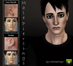 Sims 3 — Male Piercings Set by wideopeneyes — This set of piercings contains four items grouped into two variations,