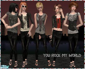 Sims 2 — You Rock My World by Pretale — 5 outfits inspired by the rock star style. I hope you like it (: