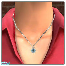 Sims 2 — Tiffany Necklaces, Set 11 - 1107 by elektra274 — A platinum pendant featuring aquamarine.