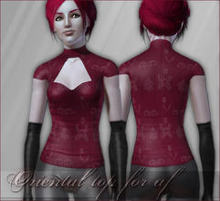 Sims 3 — Oriental Top for AF  by flinn — I remade my Oriental top for TS2 for the Sims 3 as well. Handpainted, three
