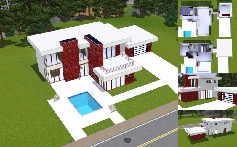 Djcotto 39 s 70 39 s retro modern house for Cool house plans for sims 3