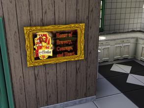 Sims 3 — Godric Gryffindor Painting by Lady_Dane — A Painting off Gryffindor's logo with a frame around it.