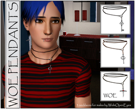 Sims 3 — WOE Pendants For Males by wideopeneyes — A set of wrap-around style necklaces with three different pendants: