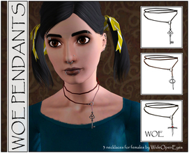 Sims 3 — WOE Pendants for Females by wideopeneyes — A set of wrap-around style necklaces with three different pendants: