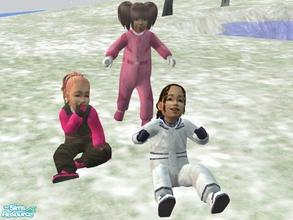 Sims 2 — Toddler Girls' Outerwear by lechapeau — Three toddler girls' snowsuits to keep them prettily warm. Uses the