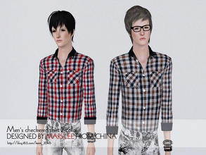 Sims 3 — Men's checkered shirt by mars lee 001 by kerm_2046 — Men's checkered shirt by mars lee 001
