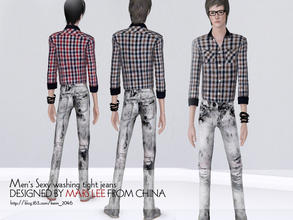 Sims 3 — Men's Sexy washing tight jeans  by kerm_2046 — Men's Sexy washing tight jeans