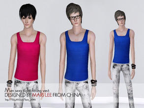 Sims 3 — Men sexy tight-fitting vest  by mars lee by kerm_2046 — Men sexy tight-fitting vest