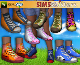 Sims 3 — S2S Sneaker High for Child by sims2sisters — High Sneaker for children. For both boys and girls. 7 recolors in