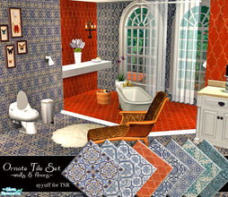 Sims 2 — Ornate Tile Set by ayyuff — 8walls,8floors..Cost:2
