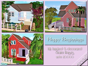 Sims 2 — Happy Beginnings *Starter House Set* by ayyuff — 2x2 fully furnished,starter houses,under 20.000