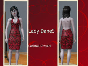 Sims 3 — Lady DaneS Cocktail Dress01 by Lady_Dane — A fine cocktail dress in black/red brokade pattern.