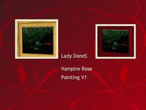 Sims 3 — vampire rose painting_v1 by Lady_Dane — a dark green bagrund with a single rose