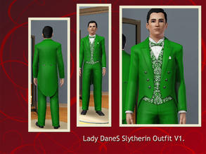 Sims 3 — Lady DaneS Slytherin outfit v1 by Lady_Dane — A suit in green/gray color,the vest is in brokade pattern. the