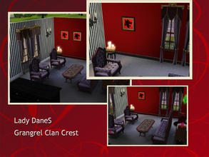Sims 3 — Lady DaneS Grangrel clan crest by Lady_Dane — The crest sit on red background and has a frame around it.