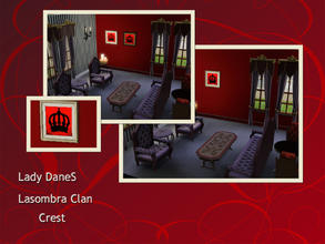 Sims 3 — Lady DaneS Lasombra Clan Crest by Lady_Dane — Lasombra crest sit on red background with a frame around it.