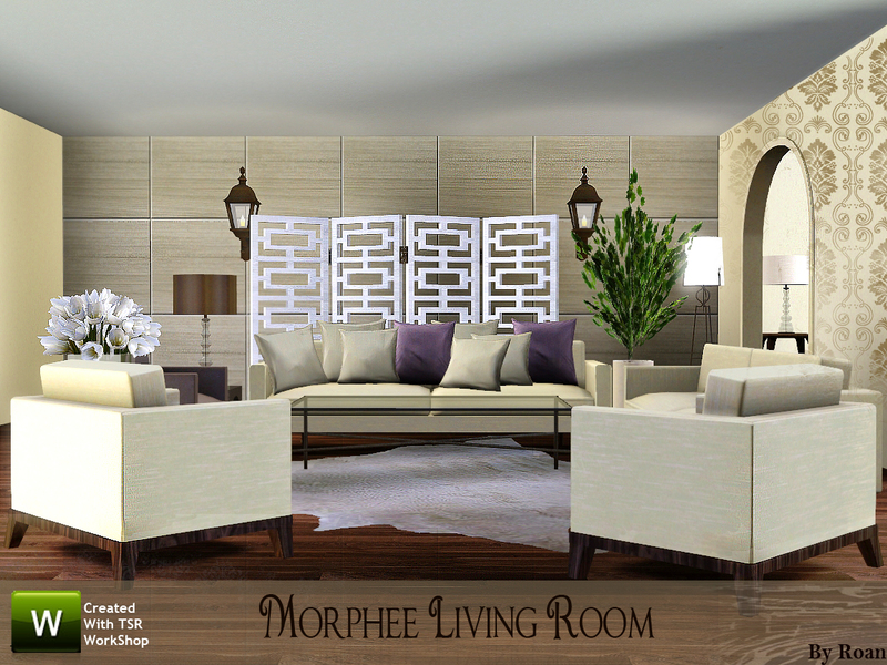 Roan 39 s morphee living room for Living room ideas sims 3