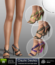 Sims 3 — Claudia Sandals by b-bettina — A pack of strikingly chic sandals with high heels, zip detail on the back, 4