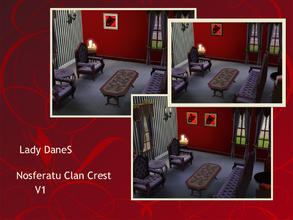 Sims 3 — LadyDaneS Nosferatu Clan Crest v1   by Lady_Dane — Show the clan's crest on bloodred background with a frame
