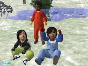 Sims 2 — Boys Outerwear by lechapeau — Three toddler boys' snowsuits to keep them snug and warm in the worst weather...